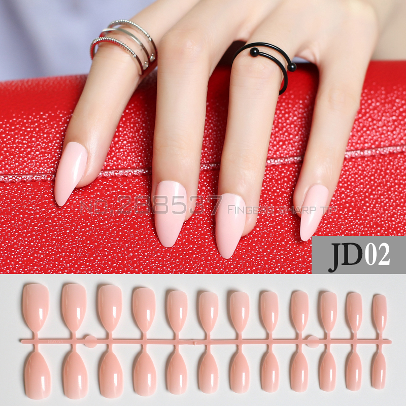 New Shrimp powder full cover Fake short stiletto nails Pink 24pcs ...