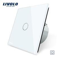 Livolo EU Standard Door Bell Switch Crystal Glass Switch Panel 220 250V Touch Screen Door Bell