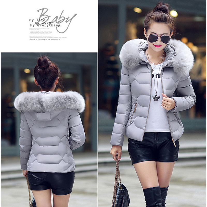 Winter Short Women Jacket Coat Cotton Warm Fur Hooded Parkas Women Outwear Zip Casual Fashion Black Warm Female Coats WT4583 10