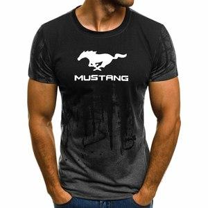 Мужская футболка с коротким рукавом Mustang с логотипом автомобиля, летняя повседневная хлопковая Футболка с градиентом, модная мужская футболка в стиле хип-хоп Harajuku
