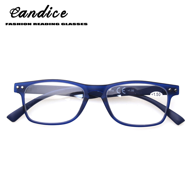 Reading glasses neutral slim lightweight glasses, blue brown frame, fashion spring hinges male and female reader glasses