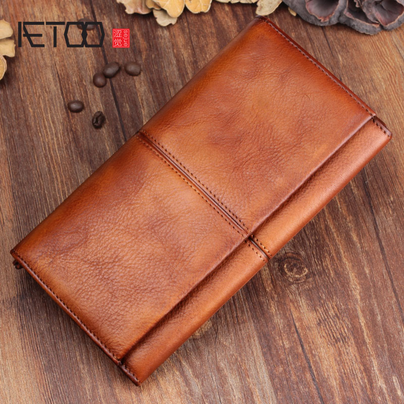 AETOO Men s handmade leather long wallet retro first layer of leather zipper men and women