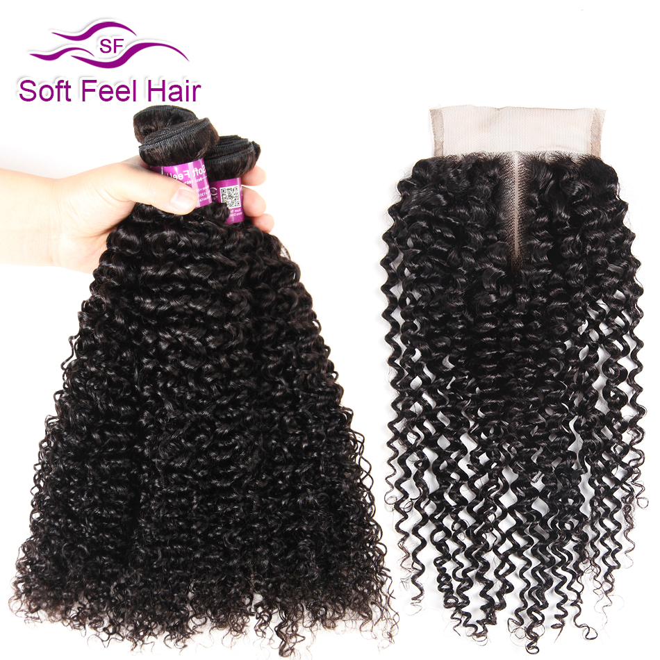 Soft Feel Hair Malaysian Kinky Curly Bundles With Closure Human Hair Bundles With Closur ...