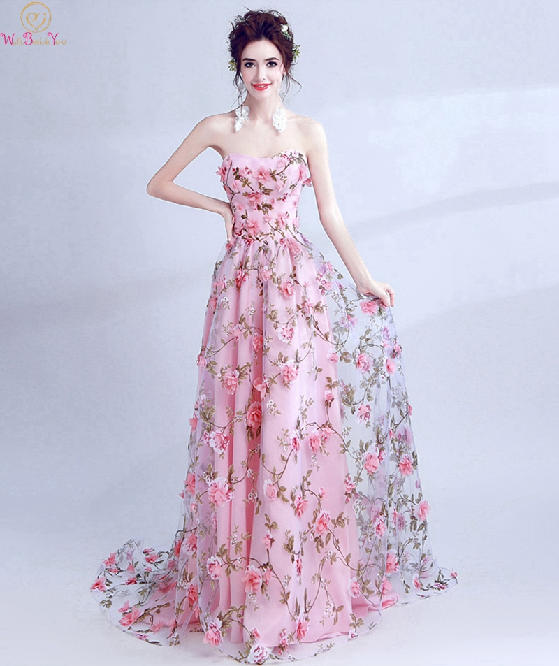 Stunning Appliques Flower   Prom     Dresses   2019 New Sweety Pink A Line Elegant Princess Lace Up Evening Formal Party Long   Prom   Gowns