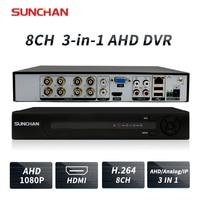 SUNCHAN 8CH 1080P AHD H DVR Hybrid DVR 1080P NVR Video Recorder AHD DVR For AHD