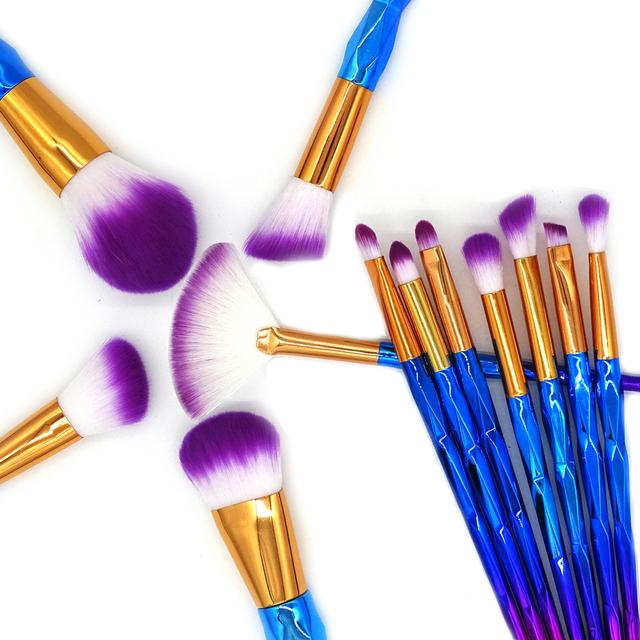 13Pcs Unicorn Diamond Makeup Brush Set Mermaid Foundation Powder Cosmetics Rainbow Eyeshadow Face Kabuki Make Up Brush Tools Kit