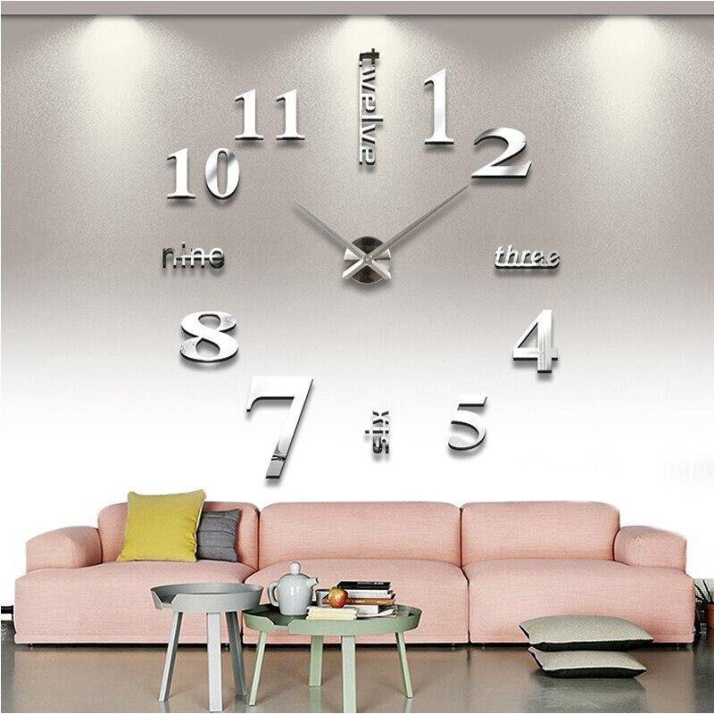 Nueva llegada de los relojes de cuarzo 3d Reloj de pared Grande real espejo etiqueta diy salón decoración envío gratis
