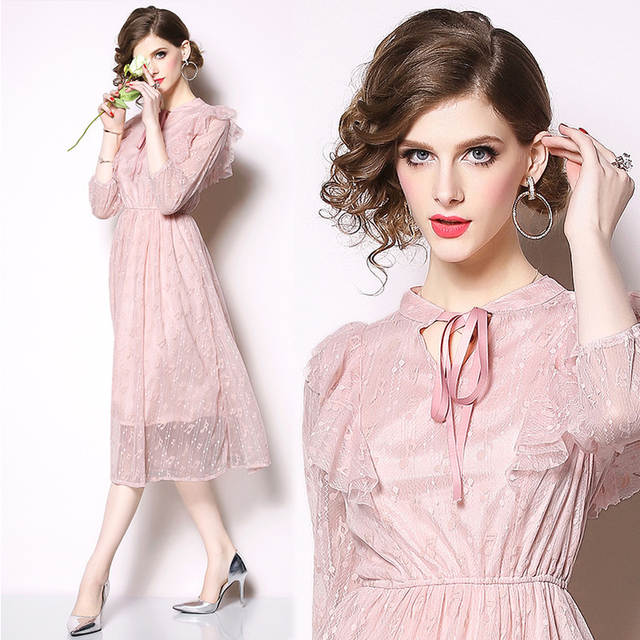 f25d360c8bda1 Fandy Finds Princess Style Spring Dress Embroidery Music Note Women Lace  Diffuser Party Banquet Ribbon Slim Ladies Dress