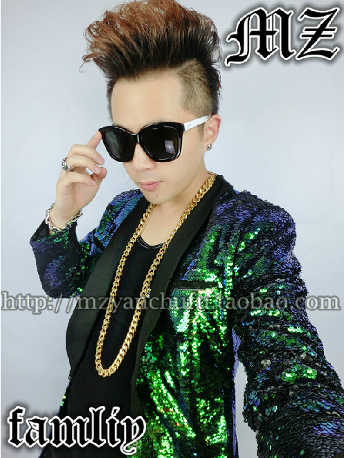 Free Shipping <font><b>Men's</b></font> Fashion Brand Artist Dj <font><b>Green</b></font> <font><b>Sequined</b></font> Long Suit <font><b>Jacket</b></font> Plus Size Costume Stage <font><b>Jackets</b></font> <font><b>Men</b></font> Clothing image