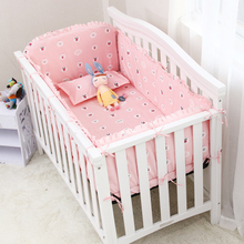 Promotion! 6PCS Cartoon Cute Baby Crib Set 100% Cotton,Baby Bedding Set Soft (4bumpers+sheet+pillow cover)
