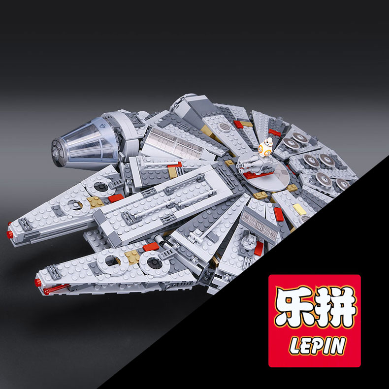 LEPIN 05007 1381Pcs Millennium set Falcon model Force Awakening Star Building Blocks Toys For Children Wars Toys 10467 gifts [yamala] star wars 7 1381pcs millennium falcon force awakening building blocks toys for children toys compatible with lepin