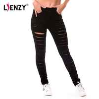 2016 New Spring And Autumn Women S High Waist Jeans Individuality European Style Holes Black Hollow