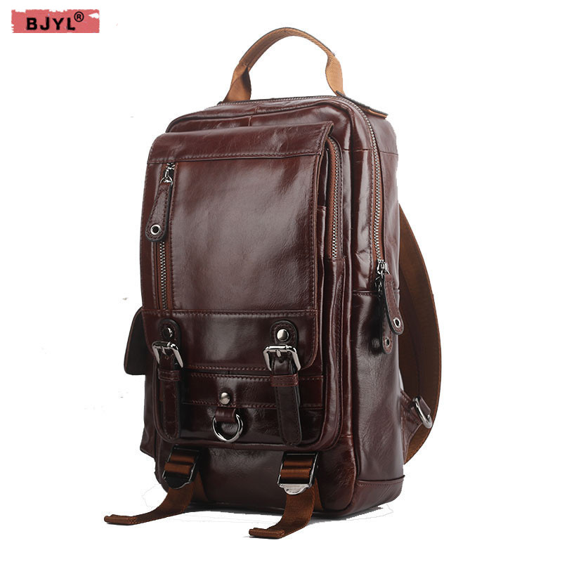 BJYL New Genuine leather Men Backpacks shoulder bag men fashion leisure travel large capacity first layer oil wax cowhide Bags 2015 new vintage oil wax genuine leather men handbag leisure out door travel hiking camp sport gym laptop shoulder bags