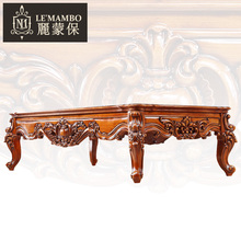 American Furniture European solid wood carving coffee table tea Office antique marble J6 teasideend