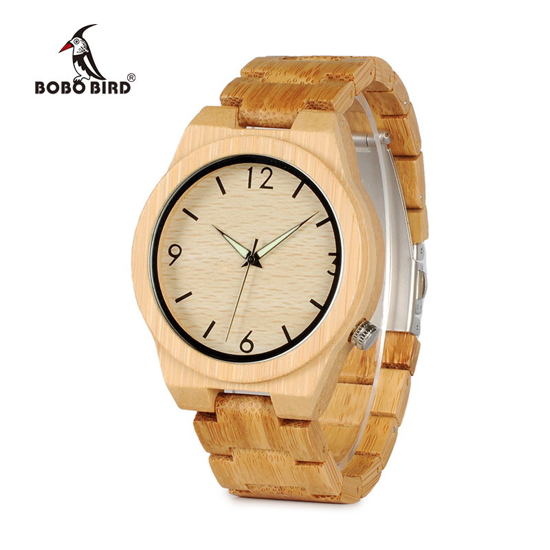 цена на BOBO BIRD Bamboo Wood Men Watches Relogio Masculino Timepieces Quartz Wristwatches for Male C-D27
