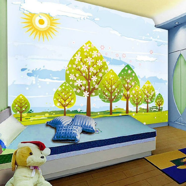 Free shipping 3d mural tv background wallpaper cartoon for Cartoon mural wallpaper