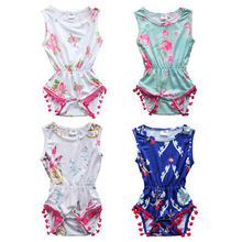 Newborn Baby Boys Girls Flower Romper Sleeveless Tassel Jumpsuit Outfits Clothes Playsuit Baby Clothing