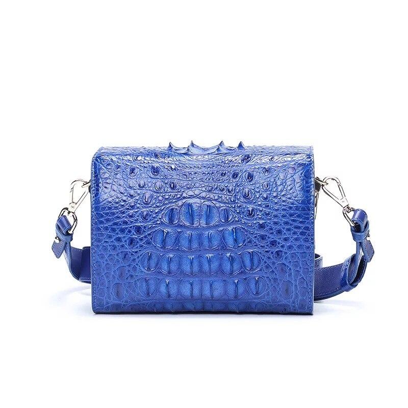 Fantaisie véritable peau de Crocodile femmes Mini sac à main dame large bandoulière boîte sac en cuir véritable Alligator femme bleu Messenger sac - 4