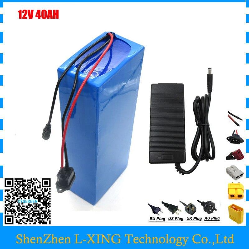 Costumes grátis taxa de envio 350 W 12 V 40AH 12 V 40000 MAH da bateria bateria de iões de Lítio para 12 V 3 S carregador de Bateria Recarregável 12.6 V 5A