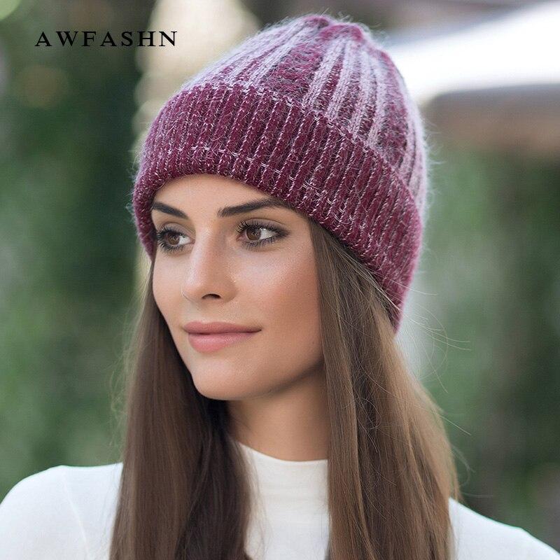 e693ff968508 Neue Luxus Wolle Damen Stricken Beanie Hut Winter frau Hüte Kaninchen Weiche  Kappe Frauen Beanies Warme Mode Weibliche Skullies slouchy