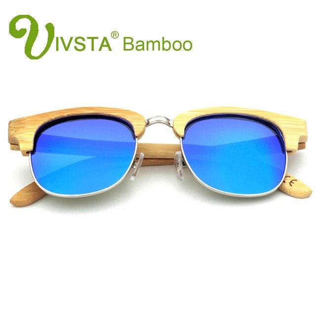 35ba5e9630 IVSTA Semi Rimless Men Sunglasses Bamboo Frame Natural Glasses Half Rim  Polarized Mens Handmade Mirror Dropshipping retro VB3016