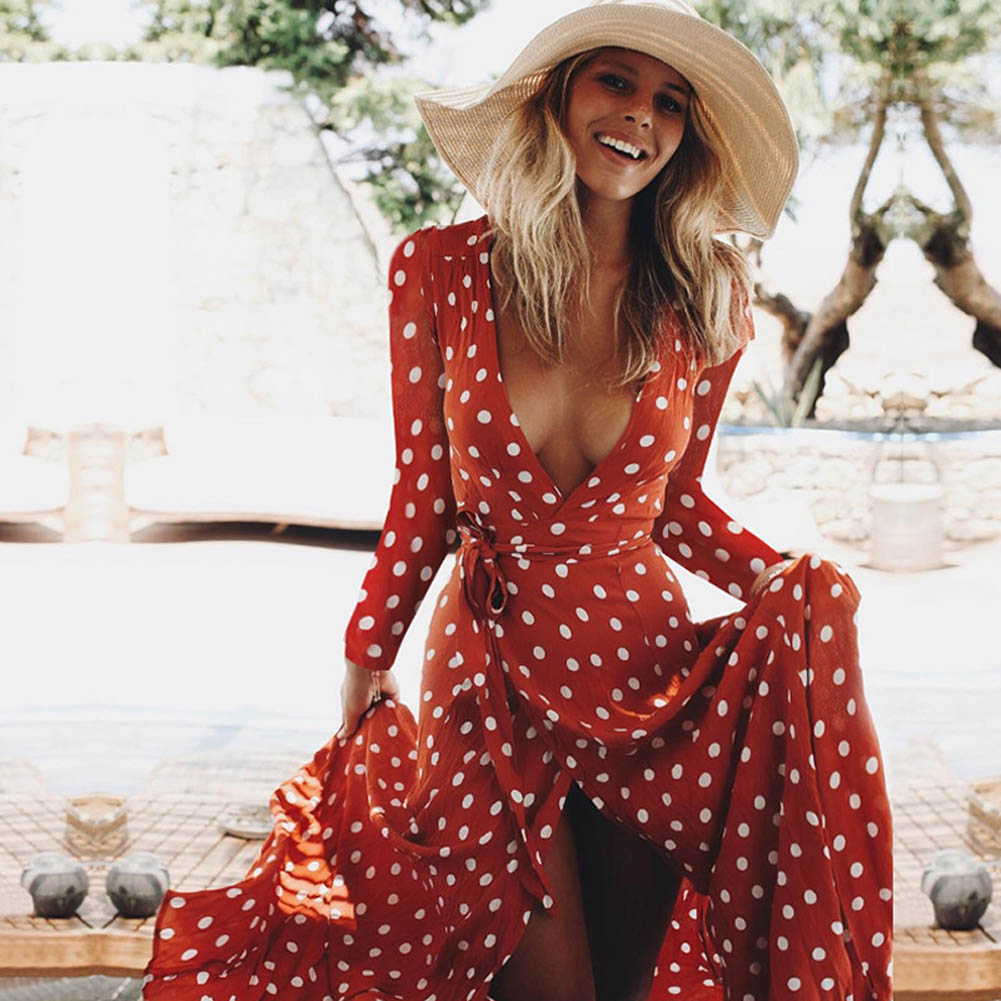 Red Dress New Fall Sexy Womens Holiday Polka Dots Slit Ladies Bohemian Sashes Maxi Long Sleeve High Split Printed Autumn Dress 3