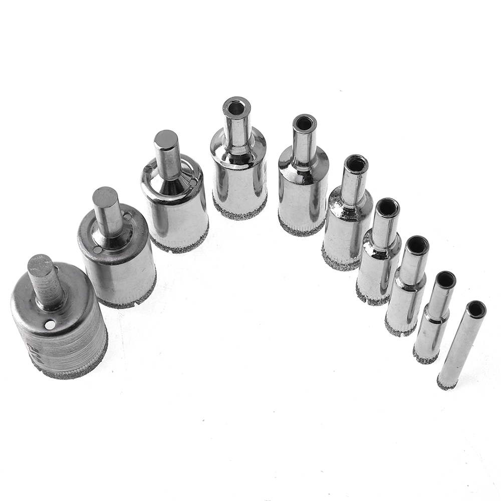 10 Pcs Diamond Drill Bit Set 6mm-25mm Diamond Coated Core Hole Saw Drill Bits Tool Cutter for Glass Marble Tile Granite Drilling new 11pc diamond glass drill bit marble granite tile glasses metal hole saw core drill bit drilling 3 14mm cutting diameter