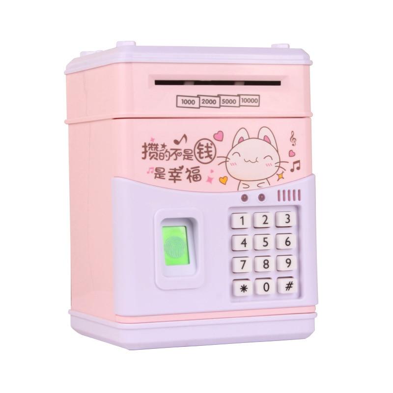 Identification d'empreintes digitales tirelire ATM enfants automatique porte ouverte argent tirelire sûre pour enfants tirelire économiser de l'argent