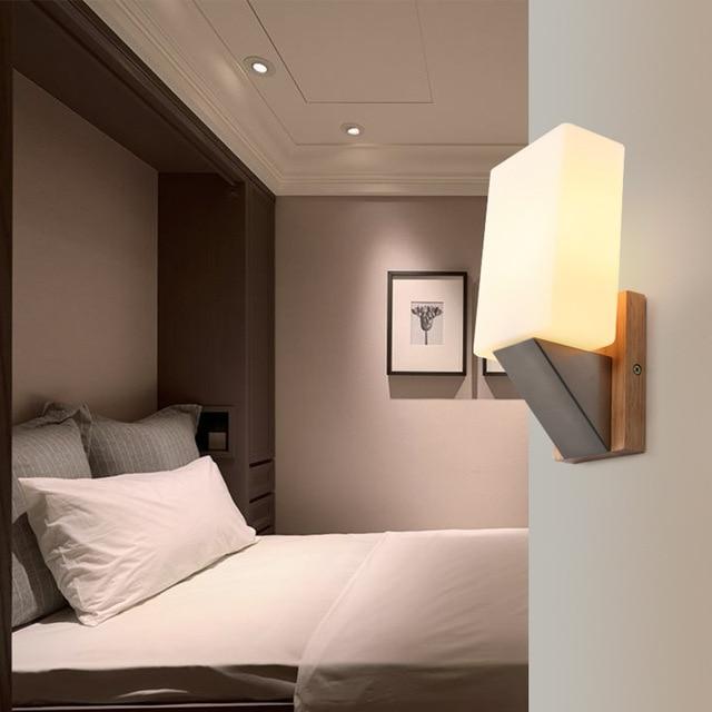 SinFull Glas Kurze Eichenholz Nachtwandleuchte Gang Wohnzimmer Wandleuchten  E14 Glühbirne 1 Verfügbar Beleuchtung Wandlampen