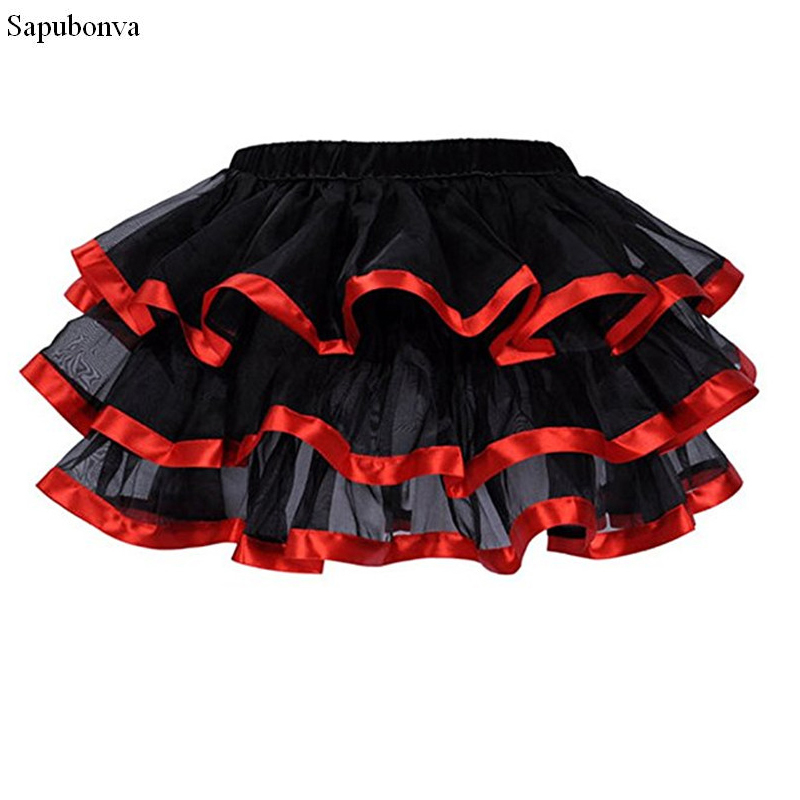 2b0a4cd3a Corzzet Tutu Skirt M XL XXL Skirts Womens 3 Layers Black Tulle Skirt With  Red /White /Pink /Blue Satin Edge Mini Burlesque Skirt