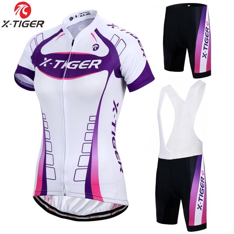 Prix pour X-Tigre Kaitlyn Respirant VTT Vélo Vêtements Femmes Vélo Vêtements Ropa Ciclismo vêtements de Cyclisme 100% Polyester Vélo Jersey Ensemble