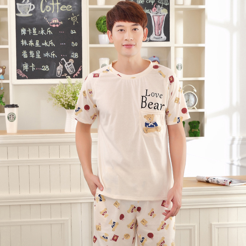 Men Pajamas New Cute Casual Home Service 2019 Short Sleeve Shorts Pullover Summer Korean Two Piece Pajama Sets Men Sleepwear