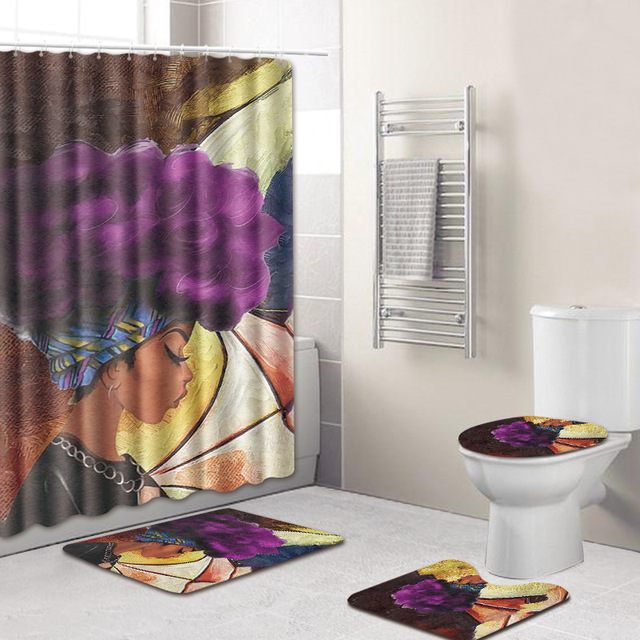 4pcs Lot African Curly Woman Print Shower Curtain 3D Polyester Fabric Waterproof Mildewproof Bathroom And Carpet Set