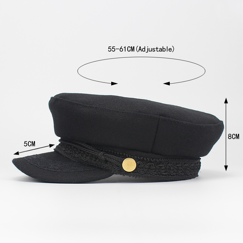 1af2789a Army Military Hat Cap Women Fall Autumn Winter lace Hats Black Korean  Literary British Military Hats Lady Flat Cap Gorra 2018-in Men's Military  Hats from ...