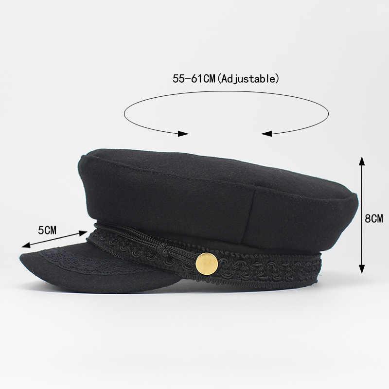 30634a3a405 Army Military Hat Cap Women Fall Autumn Winter lace Hats Black Korean  Literary British Military Hats Lady Flat Cap Gorra 2018