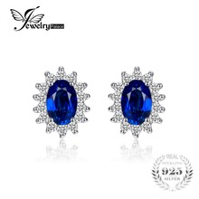 JewelryPalace Princesa Diana William Kate Middleton 1.5ct Creado Azul Zafiro Stud Pendientes plata de Ley 925 Aretes de Plata Pendiente