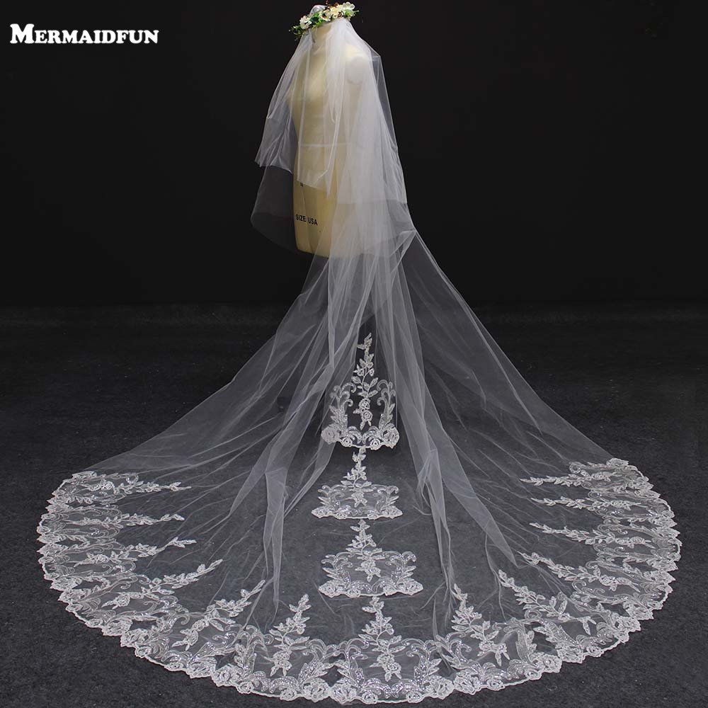 New 2 Layers Luxury Bling Sequins Lace Appliques Wedding Veil with Comb 3 Meters Long Cover