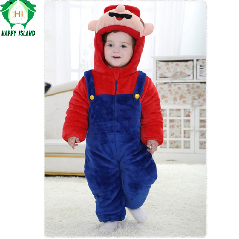 Children Costume Winter Flannel Baby Super Mary Cartoon Costume For 0-3 Baby Boys Girls Hooded Rompers Jumpsuits Winter Outwear