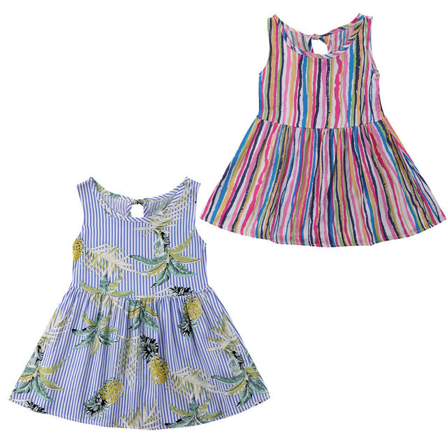74dde3d81 2018 Emmababy Kids Baby Girl Sleeveless Rainbow Stripes Dress Party  Princess Print Pineapple Dress Outfits 2
