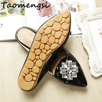 Taomengsi 2017 Women S Flats Casual Shoes Leather Fashion Pointed Toe Crystal Diamond Flowers Comfortable Women