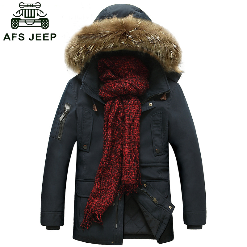 AFS JEEP men Winter coat brand-clothing thickening mens winter parka with fur hood warm winter jackets men chaqueta hombre