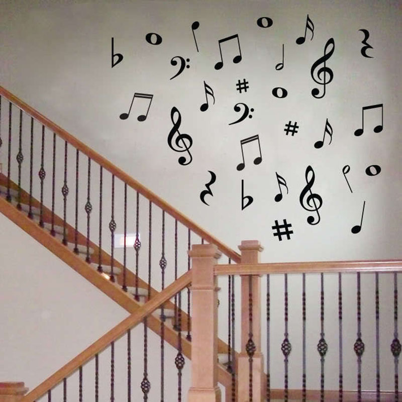 DIY MUSIC Musical NOTES Variety Pack Wall Stickers Vinyl Decoration Decal Art Living Room Bedroom Bathroom Home Decor Mural New