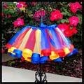 2016 Hottest Style Pretty Rainbow Ribbon Kids Party Skirt Birthday Mini Skirt Puffy Performance Dancing Skirt Children's Day