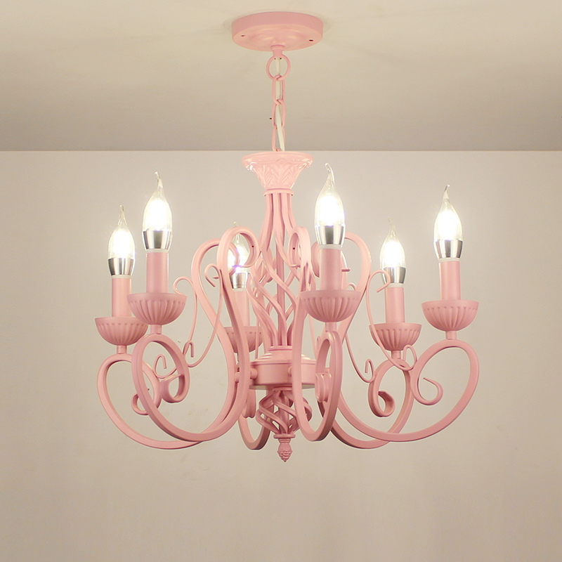 Multiple Chandelier 6/8 heads bedroom restaurant barber iron candle girl/boy Princess Room children's pink/ blue lamps ZA zx1 multiple chandelier lights blue iron candle lamps bedroom lamps rustic lighting 3 heads hotel lighting lamps