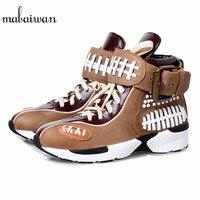 Mabaiwan Повседневное Для женщин кроссовки из натуральной кожи дышащая прогулочная обувь Для женщин на шнуровке Creepers Tenis эспадрильи Туфли без к