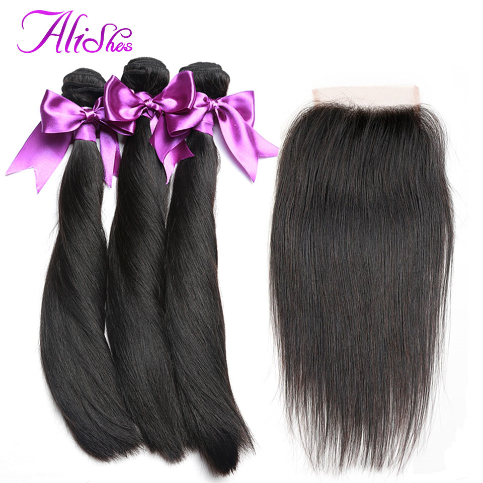 Alishes Hair 3 Bundles Malaysian Straight Hair with Closure 4 Pcs/Lot 100% Human Hair Bundles With Closure Remy Hair Extension