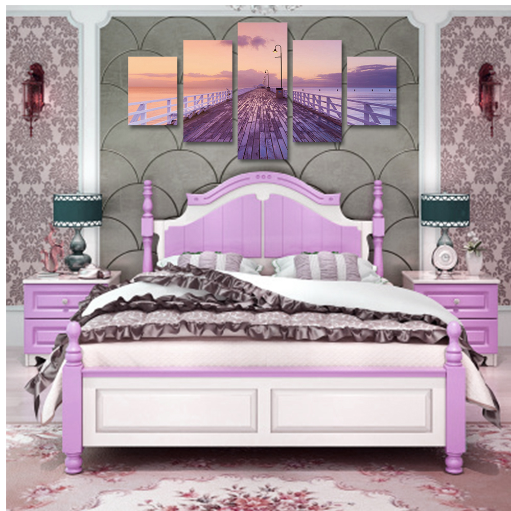 Unframed 5 panel HD Canvas Wall Art Giclee Painting Sunset Boardwalk Landscape For Living Room Home Decor Free Shipping