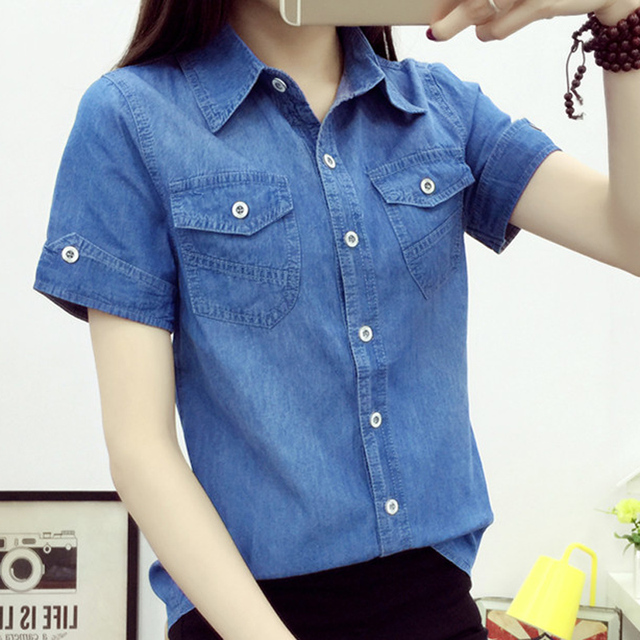 2017 Denim shirt female in the summer short-sleeved cotton denim shirts big yards cultivate one's morality dirndl thin section