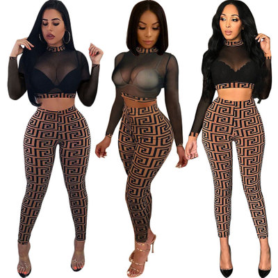 9b478c712fe Detail Feedback Questions about 2018 autumn and winter women s European and  American sexy mesh pencil pants nightclub set Tops Shirts+Long Pants 2pcs  sets ...
