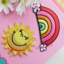 Hierro En Remiendos de Tela ~ el Sol y Arco Iris Apliques (Y-023) tamaño: 5.3*5.3 cm ~ garantizado 100% de Calidad + Envío Libre!!(China (Mainland))